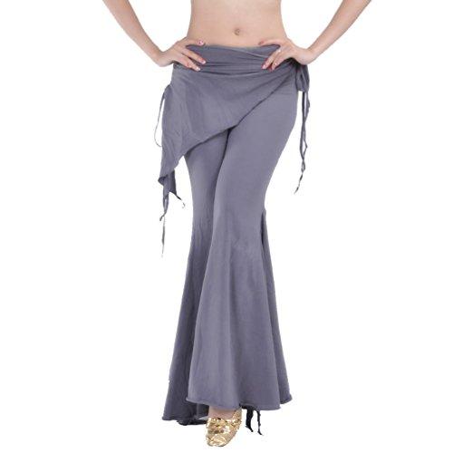 YuanDian Damen Bauchtanz Hosen Breites Bein Schlaghosen Elegante Orientalischen Arabischen Tribal Fusion Dance Performance Wrap Taille Hüfte Hosen Kleidung Grau