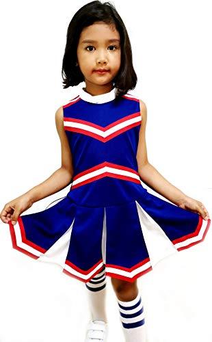 Little Girls' Children Kids Dress Cheerleader Cheerleading Sport School Uniform Costume Blue/Red/White (S / 2-5)