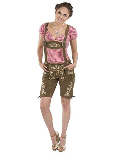 Damen Wiesnzauber Lederhose braun mittellange Trachtenlederhosen Oktoberfest Trachtenhose (38, Dunkelbraun)