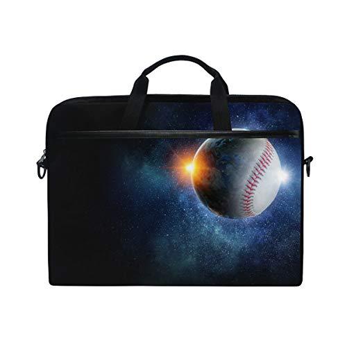 """QMIN - Funda para portátil Galaxy Space Baseball Sport con cremallera y correa para el hombro para Dell HP Lenovo MacBook de 14,5-14,5"""""""