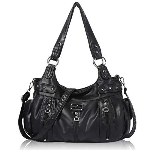 Handbag Hobo Women Handbag Roomy Multiple Pockets Street ladies' Shoulder Bag Fashion PU Tote Satchel Bag for Women (AK812-2Z Pink) (AK19244#-7#Black)