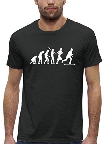Longboarder Premium Herren T-Shirt aus Bio Baumwolle Evolution Longboard Stanley Stella, Größe: M,Anthrazite