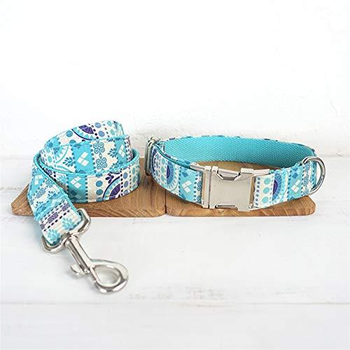 Correa para Perros Soft Dog Colllar Leash Configure las decoraciones de collar de mascotas azules folcas con correas de perrito de lazo de lazo 5 tamaños Plomo para Perros ( Color : A , Size : L )