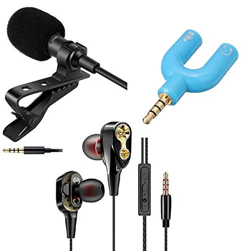 Collar mic HD Sound Quality & Noise Cancellation Clip Collar Mic Usable for You-Tube Video's with 4D Dual Driver, in-Ear Gaming Wired Headphone with in-line Mic, Volume Control by Suckey