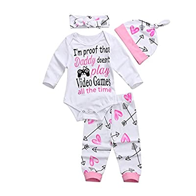 4Pcs Newborn Baby Girls Pants Set Infant Letter Romper Pants Headband Hat Clothes Set (White, 0-3Months)