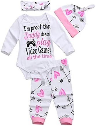 4PCS Set Baby Girls Clothes Set Newborn Infant Toddler Princess Letter Romper Arrow Heart Pants product image