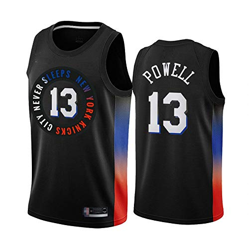 SHR-GCHAO Jersey De Deportes para Hombres, NBA New York Knicks # 13 Millas Powell Jersey, Gimnasio De Secado Rápido Suelto, Ocio Sin Mangas Chaleco Fans Camiseta,Negro,M(170~175cm)
