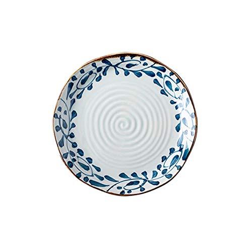 Fengshop Plato de cena creativo de cerámica japonesa, plato de pizza, plato de porcelana, placa irregular acanalada para el hogar, platos de postre (tamaño: mediano)