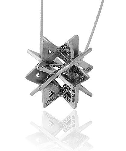 HaAri Secret of Merkabah 72 Names of God Sterling Silver Kabbalah Necklace Pendant (17.7)