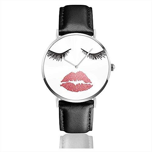 Concetto di bellezza del viso di Donna Ciglia e labbra rendono gli orologi al quarzo Casual classici in Acciaio inossidabile