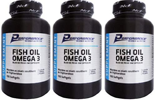 Ômega 3 Óleo de Peixe Fish Oil 1g Sem Hexano Performance Nutrition 100 Softgel kit 3 Und