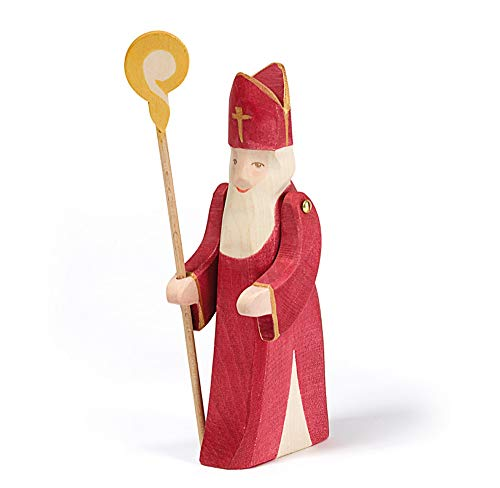Ostheimer 38010 Nikolaus mit Stab Höhe 18cm Rot