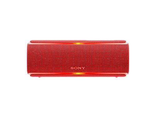 Sony SRS-XB21 kabelloser Bluetooth Lautsprecher (tragbar, farbige Lichtleiste, Extra Bass, NFC, wasserabweisend, kompatibel mit Party Chain) rot