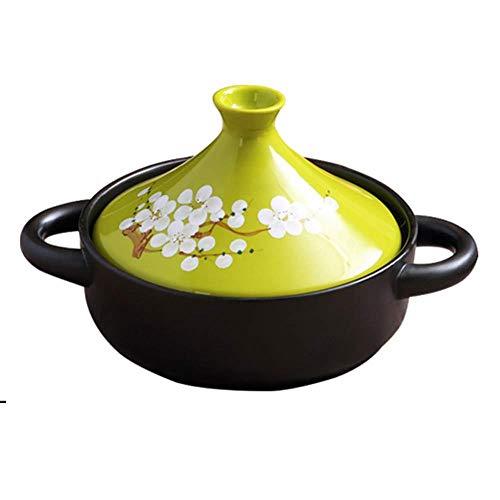 Cazuela Olla De Sopa Cazuela De Cerámica- Pan caliente y resistente al frío, anti-craqueo, verde sano sano-2