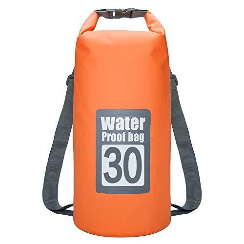 KEECARLY Wasserdicht Dry Bag 30L Wasserdicht Schwimm Beutel-Speicher-Dry-Sack-Beutel mit justierbarem Doppel Schultergurt for Kanu Kajak Rafting Reise Rucksack (Color : Orange)