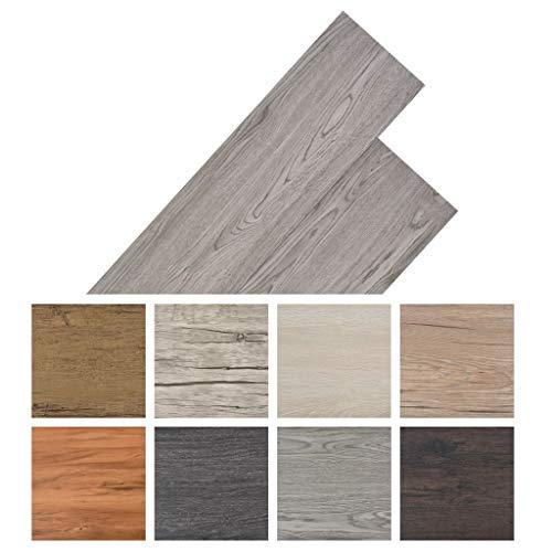 Tidyard Vinyl-PVC Laminat Dielen Laminat Dielen Fußboden PVC Wasserfest, Schwer Entflammbar, für Küche, Bad, Flur, 4,46 m², Dunkelgrau