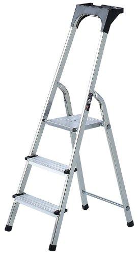 Brennenstuhl Haushaltsleiter aus Aluminium mit Arbeitsschale (Alu-Stehleiter mit 3 Stufen, Traglast max. 150 kg)