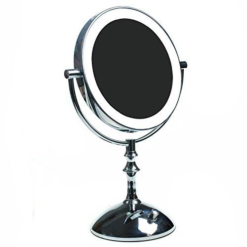 HIMRY Slim LED Specchio Cosmetico 8 Pollici 10X Ingrandimento, Luminosità Regolabile, Specchio da Tavolo Illuminato, Make Up Rasatura Bagno Specchio, Normale + 5X Zoom, KXD3136-10x