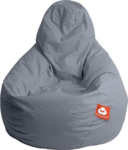 """WHOOBER \""""\""""Barça Outdoor-Sitzsack Grau - 5 Jahre Garantie - Ø 84 cm (Höhe: 146 cm) - für Drinnen & Draußen - komfortable Birnenform/Tropfenform - Waschbar"""