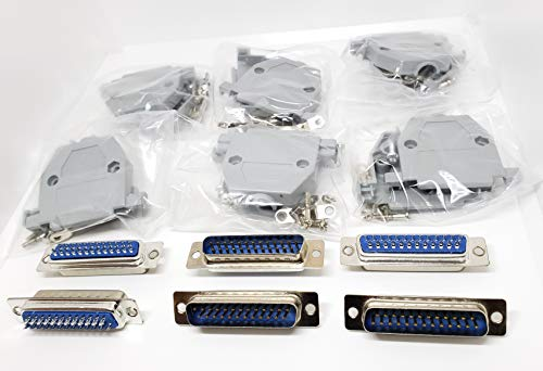 Connectors Pro 6 Sets Solder Cup DB25 Male + Plastic Hoods, 25 Pins D-Sub Connector & Hood Set, 12-Pack (6 DB25 Males + 6 Hoods)