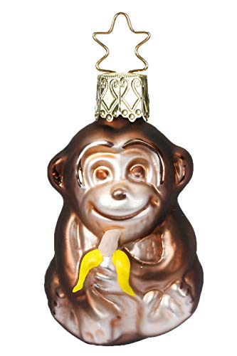 Inge-Glas Tiny Monkey 10088S018 German Blown Glass Christmas Ornament