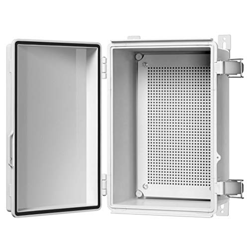 Gratury Junction Box, Hinged Cover Stainless Steel Latch IP67 Waterproof Plastic Enclosure for Electrical Project Includes Mounting Plate and Wall Bracket 290×190×140mm (11.4