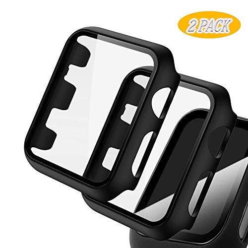 【2 Pack】Dilhvy Compatibile con Apple Watch 38mm Custodia Proteggi Schermo in Vetro temperato, Slim Cover Bumper Cornice Protettiva per PC Protezione Completa per iwatch Serie 3/2/1(Nero)