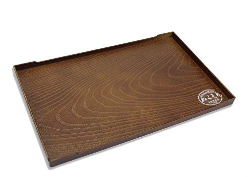Japonais Laque Plateau de Service, Imitation Grain de Bois Design, 25.3 cm, pour thé, Sake, Sushi, Sashimi.