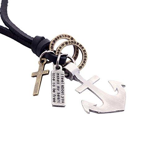 DonDon Herren Lederhalskette schwarz mit einem Anker, Ringen, Kreuz und Schrift Tag in einem schwarzen Beutel