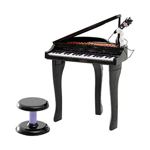 Qaba Black 37-Key Baby Grand Electric Piano for Kids with Microphone and Stool