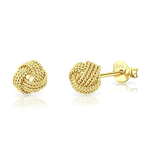 DTP Silver - Orecchini da Donna a forma di Nodo - Diametro 8 mm - Chiusura a perno - Argento 925 Placcato in Oro 18K