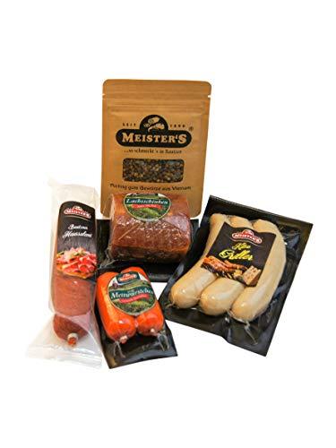 Wurstpaket mit Gewürz als Geschenk zum Probieren | Salami Schinken am Stück | Käse Bratwurst | Mettwurst 960g (Inselpfeffer)