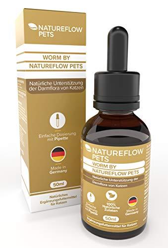 Natureflow Worm by Pets für Katzen - 50ml Pflanzliche Tropfen mit Pipette zur leichten Dosierung - Natürliche Unterstützung der Darmflora und Ergänzung vor und bei Wurmbefall - Made in Germany