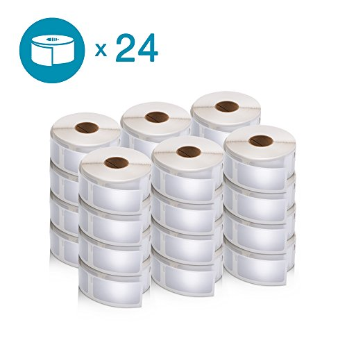DYMO Authentic LabelWriter Multi-Purpose Labels for LabelWriter Label Printers, White, 1'' x 2-1/8'' (30336), 24 Rolls of 500