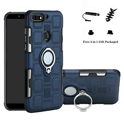 LFDZ Huawei Y7 2018 Hülle, 360 Rotation Verstellbarer Ring Grip Stand,Ultra Slim Fit TPU Schutzhülle für Huawei Y7 2018 / Honor 7C / Enjoy 8 (mit 4in1 Geschenk Verpackt),Deep Blue