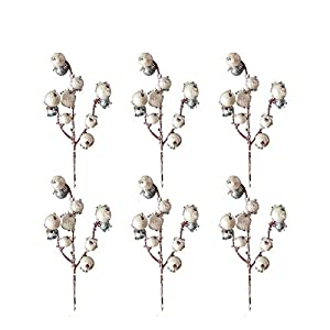 RTWAY Artificial Berry Stems, 6 Pcs Winter White Holiday Berries Picks Fake Christmas Fruit Holly Berries Flower Branches for Xmas Wreaths, Garland, DIY Crafts Decor