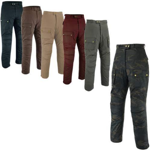 Warrior Gears, pantaloni da moto da uomo, in cotone cerato, impermeabili, pantaloni da motociclista corazzati e invernali, da uomo Nero 38W x 33L