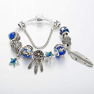 Blue alloy macroporous bead bracelet retro feather pendant (20cm)
