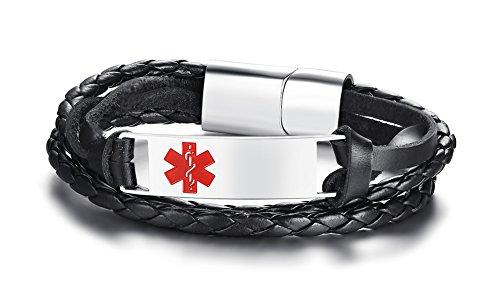 VNOX Hombre Acero Inoxidable Trenzado Cuero Genuino 2 Tonos Alerta Médica Personalizada ID Abrigo Pulsera Grabado Personalizado Sos Emergencia