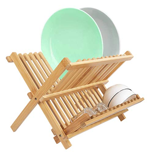 Collapsible Wooden Dish Rack, Bamboo Holding Plate Holder, Cup Drying Strainer