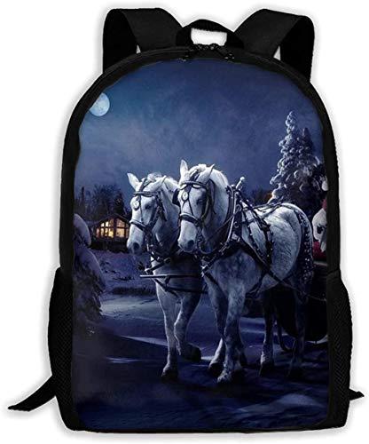 Schulrucksack Santa Claus Schlitten Mädchen Pferd Baum Nacht Weihnachten Casual Rucksack Rucksack für Outdoor-Reisen Geeignet für Teenager-Jungen und Mädchen Rucksäcke