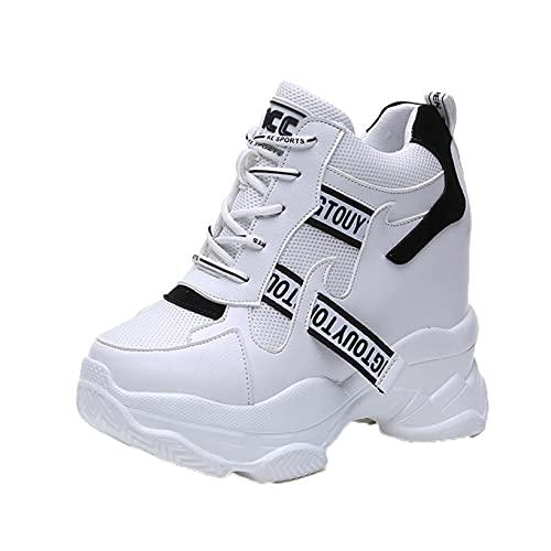 Zapatillas de Deporte para Mujer, Zapatos de Plataforma de Moda con Cordones y retales de Malla, Zapatos Informales Ligeros y Transpirables de tacón de cuña Ocultos para el día a día