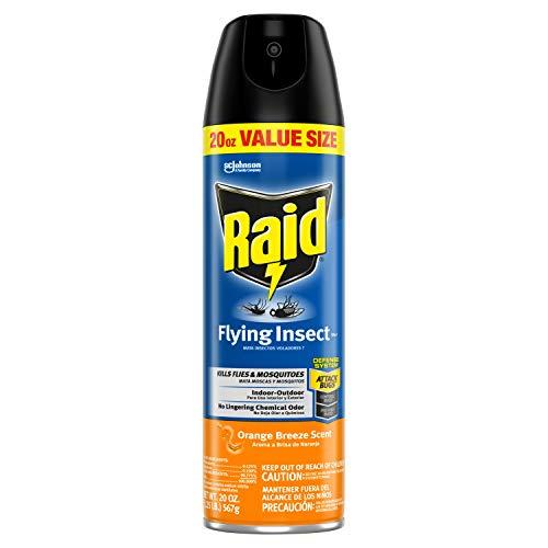 Raid Flying Insect Killer, Indoor & Outdoor Use, Orange Breeze Scent, 20 Oz (Pack of 12)