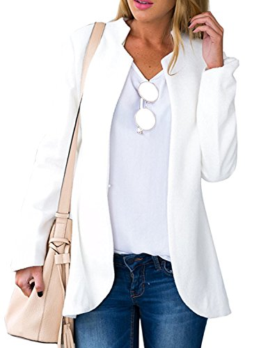 Choies Women's Fashion Casual Long Sleeve Slim Office Blazer with Stand Collar M White