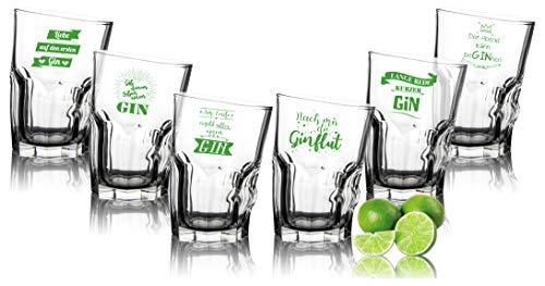 Set di 6 bicchieri da gin tonic, inclinati con scritte in lingua tedesca – Divertenti bicchieri da gin con stampa 35 cl – regalo di compleanno
