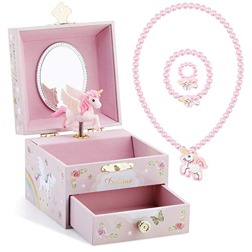 Kids Musical Jewelry Box for Girls with Drawer and Jewelry Set with Mysterious Unicorn - Over the Waves Tune Pink