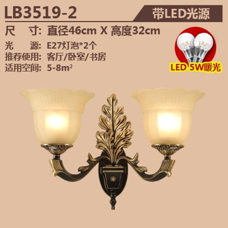StiefelU LED Kupfer Wandleuchte Schlafzimmer Nachttischlampe ein verkehrskorridor Wandleuchten LB 3519, Dual Head mit LED-Lampe (Standard von warmem Licht)