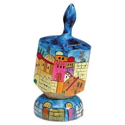 Jerusalem Hand Painted Large Wooden Dreidel and matching Stand by Yair Emanuel