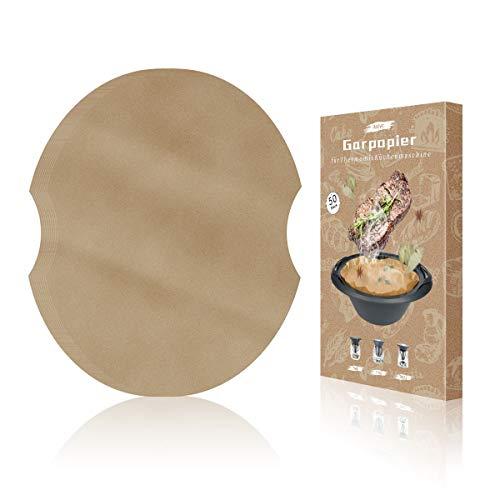 AIEVE 50 Stück Backpapier Garpapier Dampfgarpapier Backfolie Kompatibel mit Thermomix Varoma Küchenmaschine Multikochern für TM6 TM5 TM31(Naturbraun)