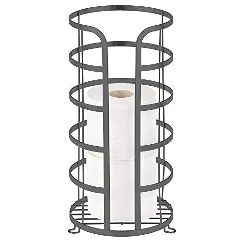 mDesign Free-Standing Spare Toilet Roll Holder – Metal Bathroom Storage for up to 3 Spare Toilet Rolls – No-Drill Toilet Paper Holder for Main and Guest Bathroom – Graphite Grey